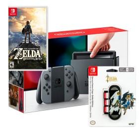 Consola SWITCH Gris + videojuego Zelda + Estuche protecto para juegos edición Zelda