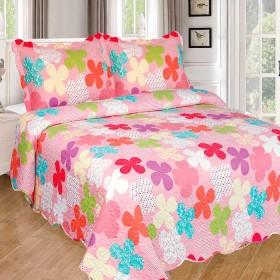 Cubrecama Sencillo K-LINE estampado Flores rosado