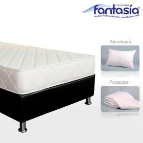 KOMBO FANTASÍA: Colchón Doble Litium Espumado + Base cama + Protector  + Almohadas 140x190 cms