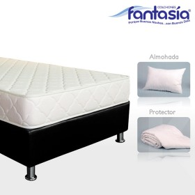 KOMBO FANTASÍA: Colchón Semidoble Litium Espumado + Base cama + Protector  + Almohadas 120x190 cms