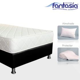 KOMBO FANTASÍA: Colchón Semidoble Litium Resortado + Base cama + Protector  + Almohadas 120x190 cms