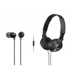 Combo Audífonos Sony Alámbricos On Ear ZX310 Negro + InEar  EX15 Negro