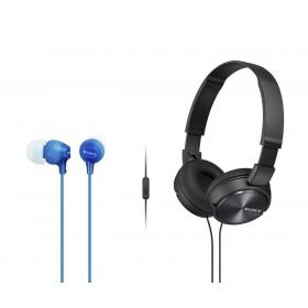 Combo Audífonos Sony Alámbricos On Ear ZX310 Negro + InEar  EX15 Azul