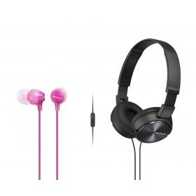 Combo Audífonos Sony Alámbricos On Ear ZX310 Negro + InEar  EX15 Rosado