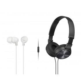 Combo Audífonos Sony Alámbricos On Ear ZX310 Negro + InEar  EX15 Blanco