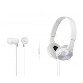 Combo Audífonos Sony Alámbricos On Ear ZX310 Blanco + InEar  EX15 Blanco