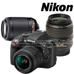 Kombo Camara NIKON D3300 Profesional  + Lente 18-55 + 55-200 + Estuche + Memoria 8 GB Negra