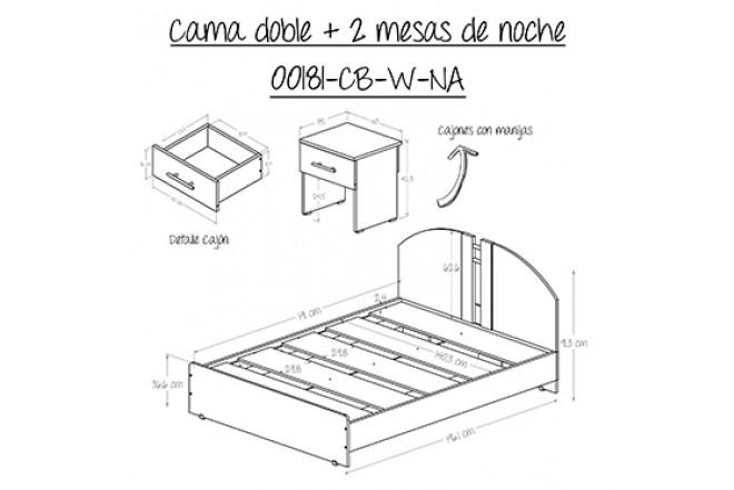 Cama doble maderkit gratis 2 mesas de noche alkosto tienda for Medidas colchon cama sencilla