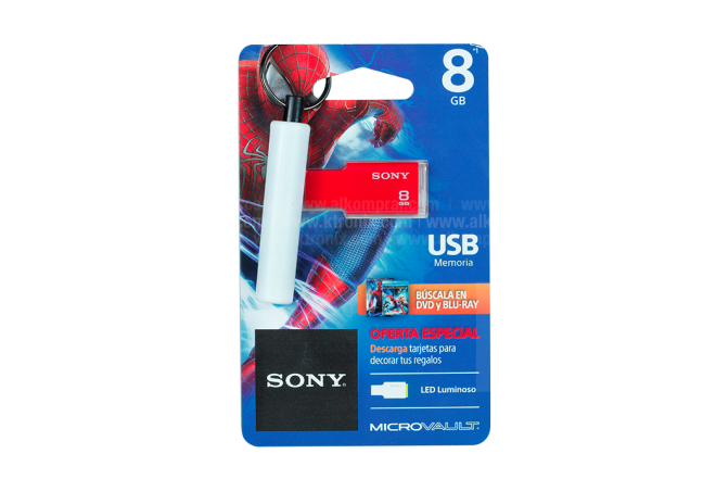 Memoria USB SONY 8GB Spiderman 2.0 Rojo