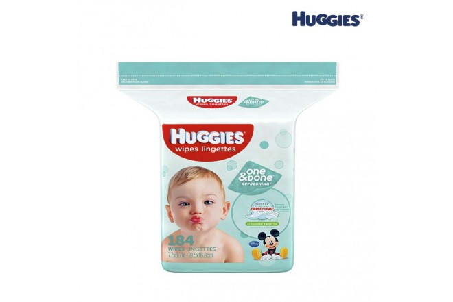 Toallas Húmedas HUGGIES One & Done Refrescantes 184 und.