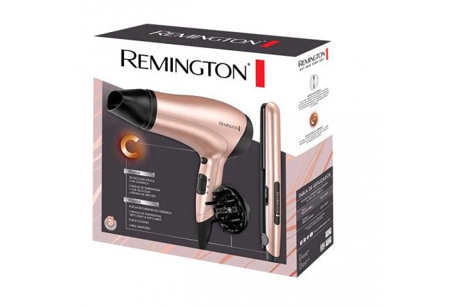 Combo plancha alisadora + secador Rose Gold Remington D3015-S1520-F