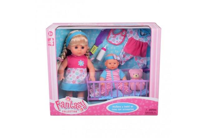 FANTASY COLLECTION muñeca y bebé en cuna con accesorios