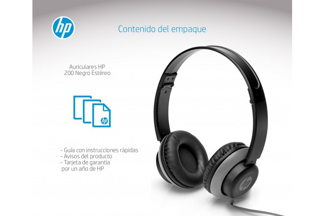 Audifonos HP Alámbricos On Ear 200 Gris