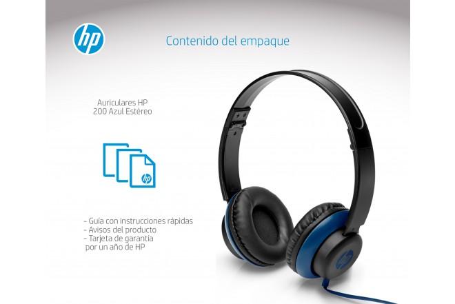 Audifonos HP Alámbricos On Ear 200 Azul
