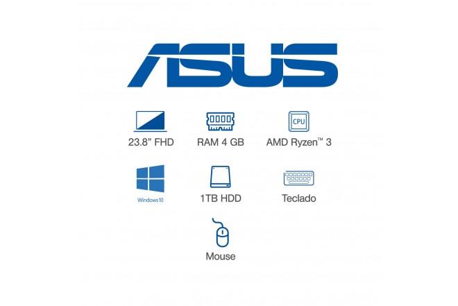 "All In One ASUS Vivo AIO 23,8"" Pulgadas M241DAK-BA099T AMD Ryzen 3 4GB RAM Disco Duro 1TB Negro_"