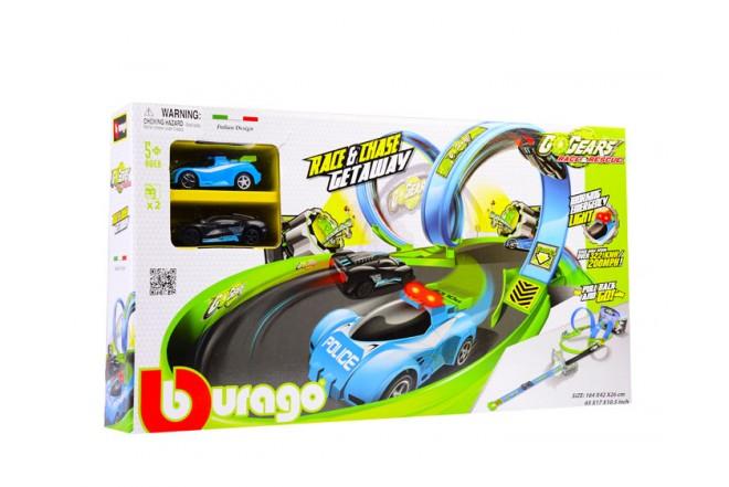 Pista persecusión Bburago Go Gears race and chase verde y azul