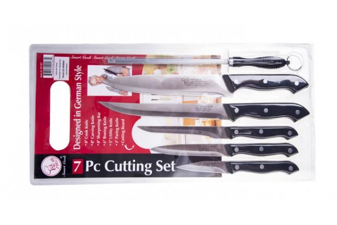 Set de cuchillos SMART COOK 20167 7 Piezas Negros + Superficie de corte