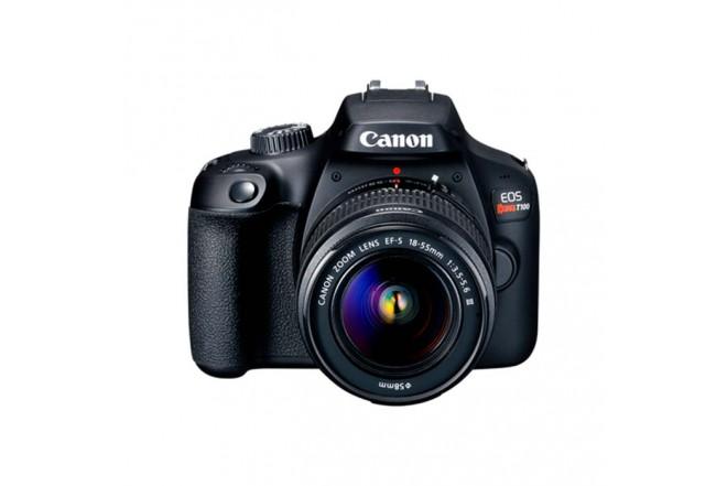 Cámara Fotográfica CANON EOS T100+Lentes EF-S 18-55 IS III / 75-300 Negra1