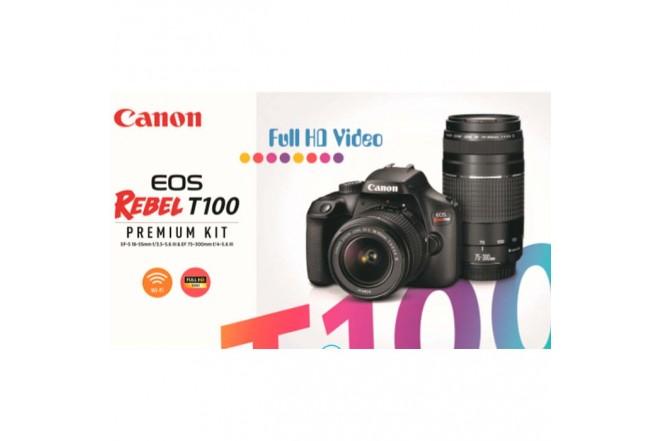 Cámara Fotográfica CANON EOS T100+Lentes EF-S 18-55 IS III / 75-300 Negra4