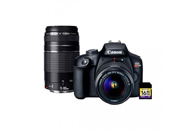 Cámara Fotográfica CANON EOS T100+Lentes EF-S 18-55 IS III / 75-300 Negra3