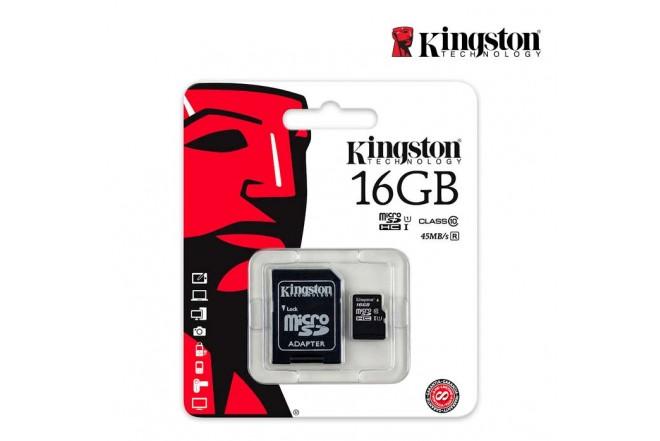 Memoria Micro SD KINGSTON 16GB + Adaptador Cl10