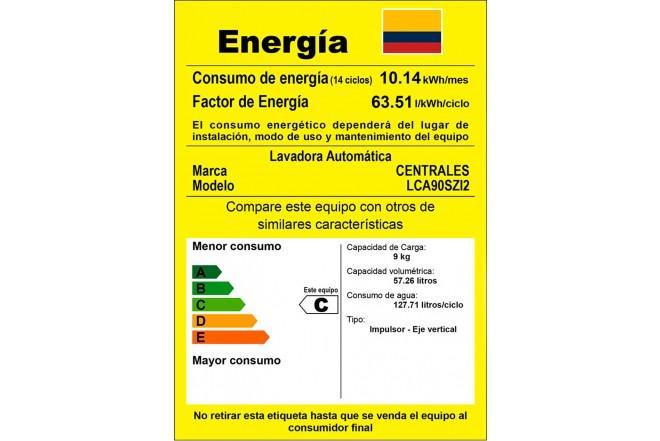 Lavadora CENTRALES 9 Kg LCA90SZI2 Gris