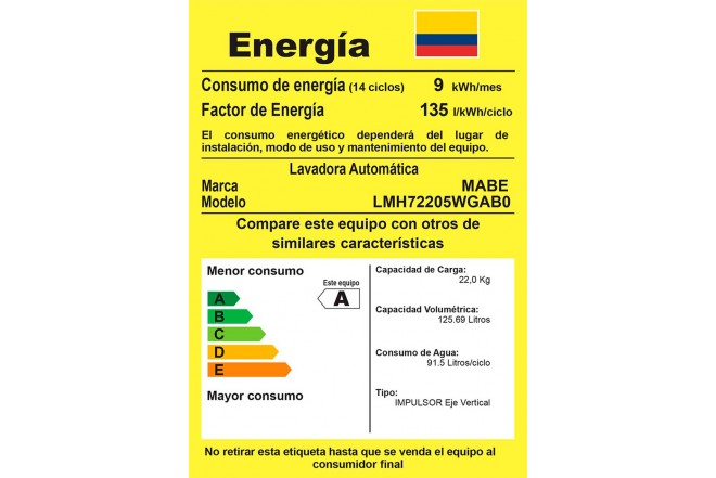 Lavadora MABE 22Kg LMH72205WGAB0 Gris