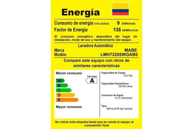 Lavadora MABE 22Kg LMH72205WGAB0 Gris5