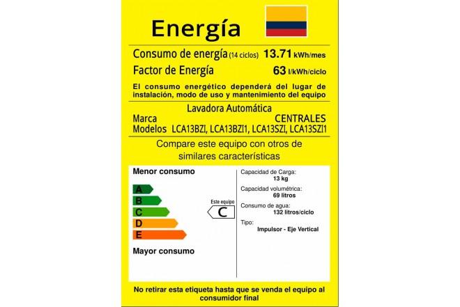Lavadora CENTRALES 13Kg LCA13SZI1 Gris