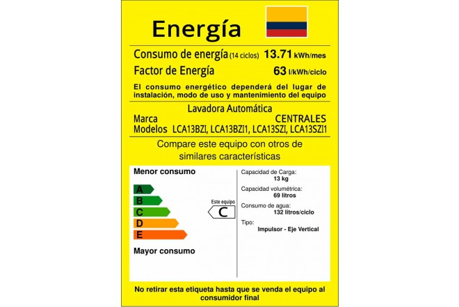 Lavadora CENTRALES 13Kg LCA13BZI1 Blanco