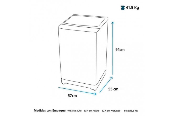 Lavadora MABE Carga Superior 12 Kilogramos LMA2120WPAB0 Gris2