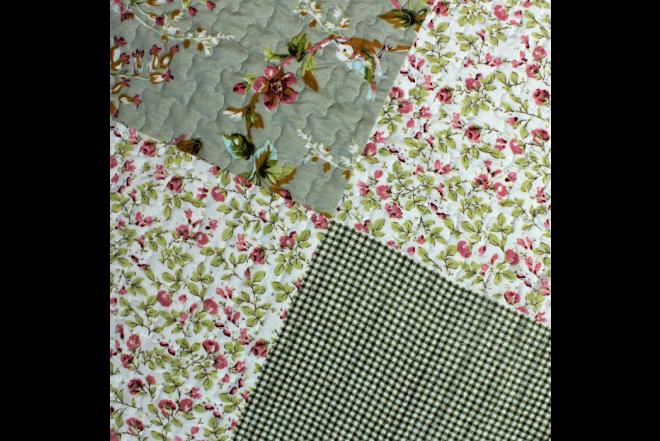 Cubrecama doble patchwork flores 9 microfibra 100%