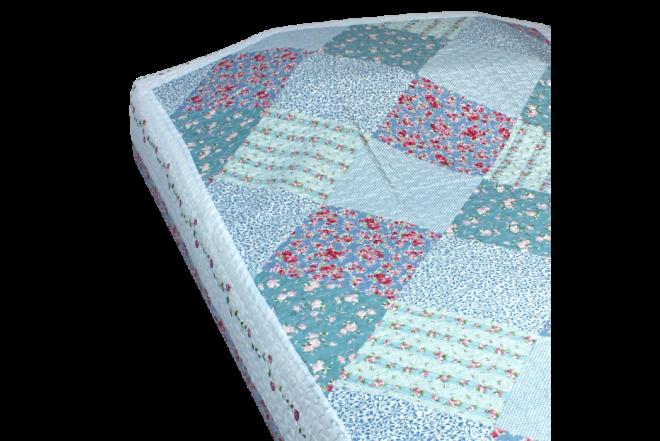 Cubrecama doble patchwork flores 10 microfibra 100%