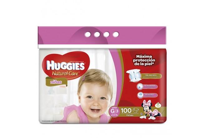 Pañales HUGGIES Natural Care Niña G x 100 Und.