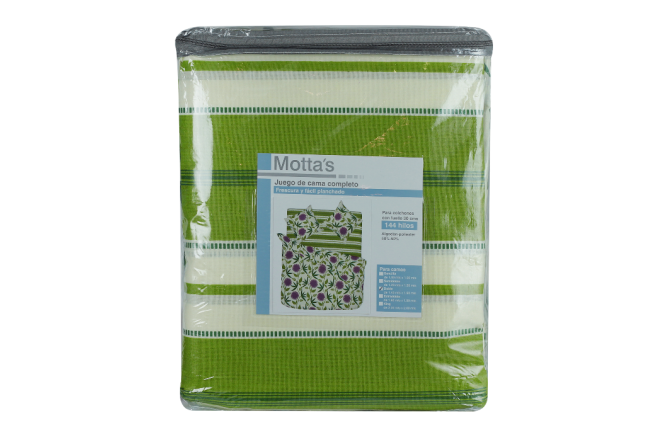 Juego de cama estampado paulina verde doble 144 hilos algodón/poliester