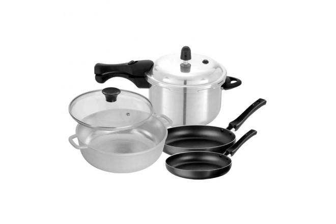 KOMBO UNIVERSAL: Olla a presión 6 Litros + Set de sartenes + Caldero de 20 cm (Ollas y Sartenes Pieza Suelta y Baterias de Cocina)-3