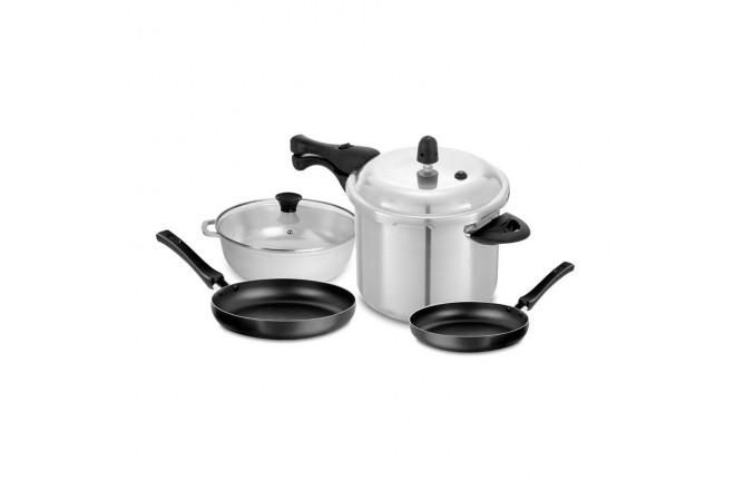 KOMBO UNIVERSAL: Olla a presión 6 Litros + Set de sartenes + Caldero de 20 cm (Ollas y Sartenes Pieza Suelta y Baterias de Cocina)-4