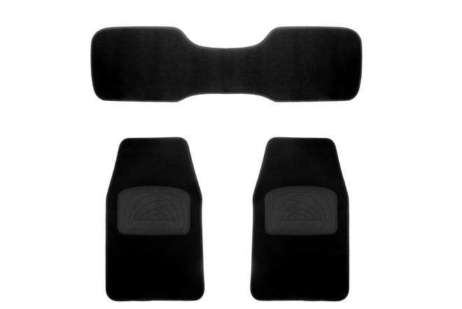 Tapete SIMONIZ juego 3 piezas pequeño alfombra negro lisa