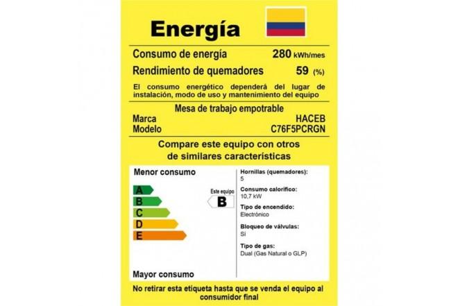 Cubierta HACEB 76cms 5 Puestos Gas Natural APLCG76MF Cristal Negro5