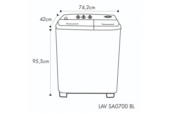 Lavadora HACEB Semiautomática 7 KG SA0700 Blanca 2