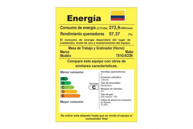 Estufa de Piso MABE 4 Puestos Gas Natural TX1G Gris3