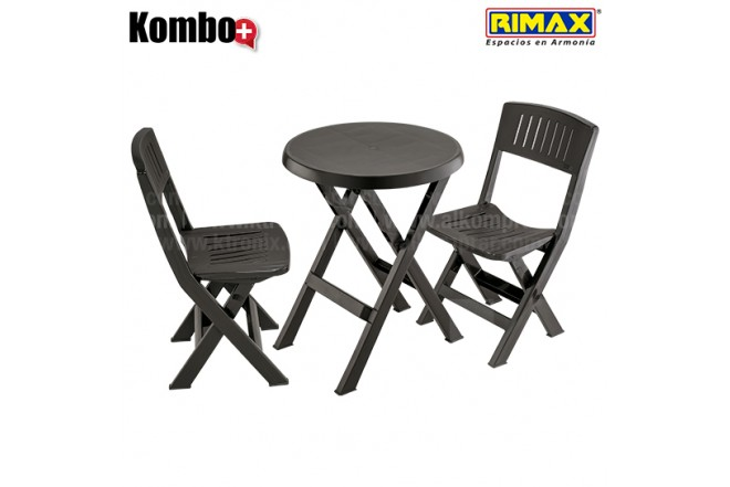 Kombo Plegable RIMAX: 1 Mesa redonda + 2 Sillas Alkosto.com