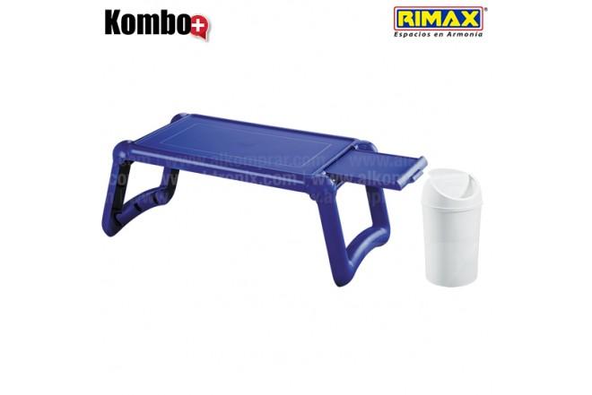 KOMBO RIMAX: Mesa Laptop Azul eléctrico +Papelera 1.5L