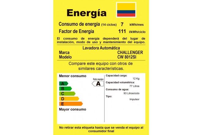 Lavadora / Secadora CHALLENGER Carga Frontal 12 Kg CW8012S Gris