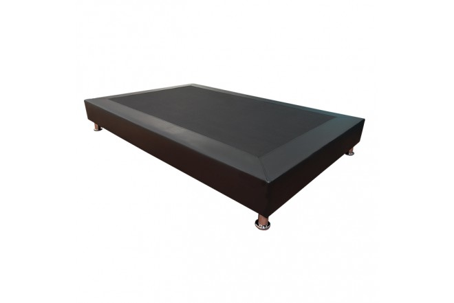 Base Cama Semidoble 120 x 190 cm TUKASA Ecocuero Negro