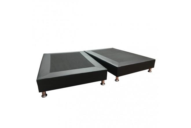 Base Cama Dividida Semidoble 120 x 190 cm TUKASA Ecocuero Negro