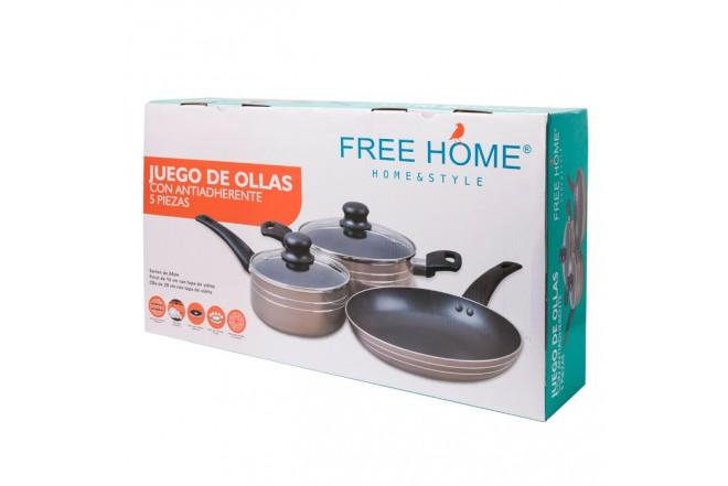 Batería de ollas antiadherente FREE HOME 5 piezas Café