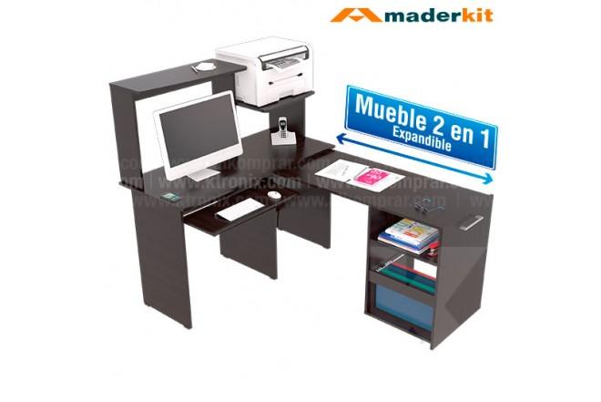 Centro de Cómputo MADERKIT  2 en 1 Wengue 00750