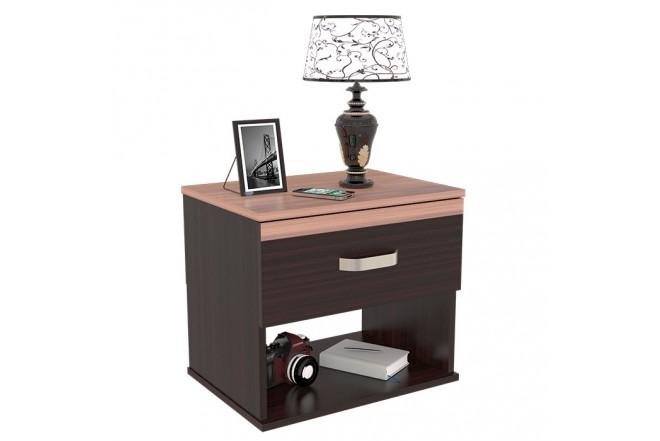 Mesa de noche MADERKIT con cajón Wengue/Espresso