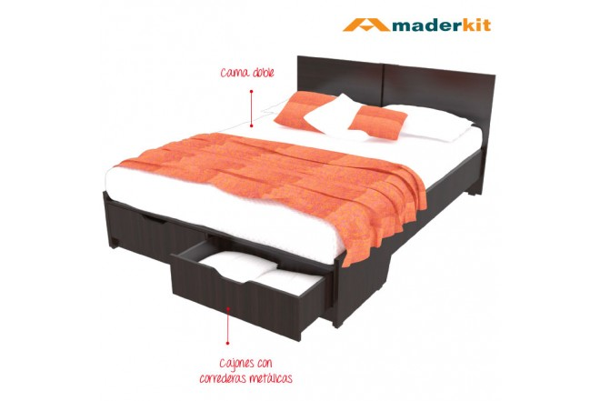 Cama Doble MADERKIT Wengue 1160-CA-W-R
